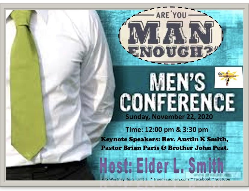 Sunday November 22 Men Conference: Are you Man Enough?