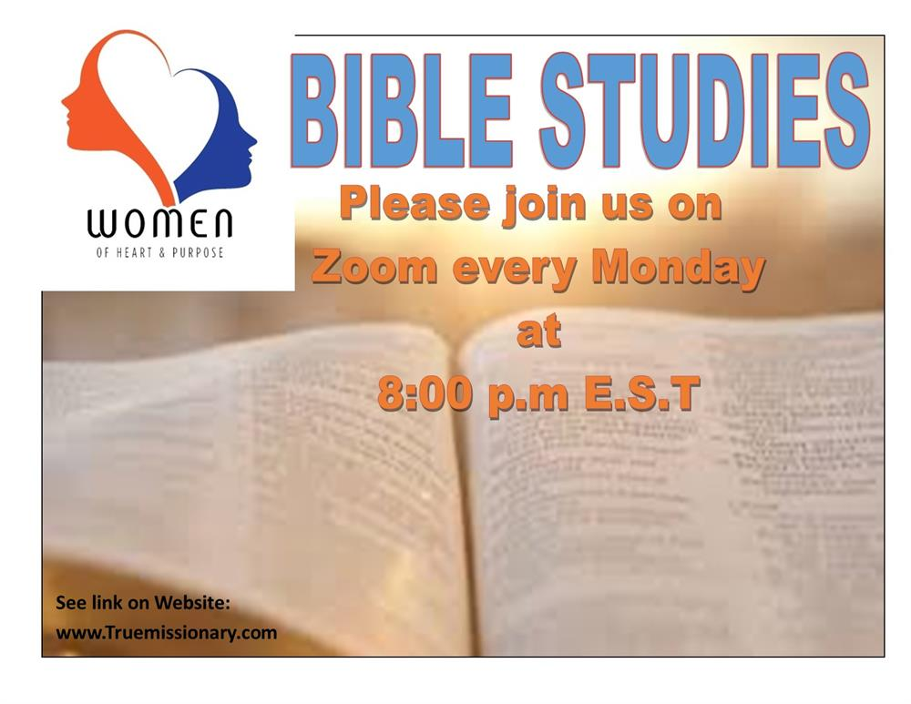 Bible Studies 2021 - Please join us on zoom every Monday at 8pm