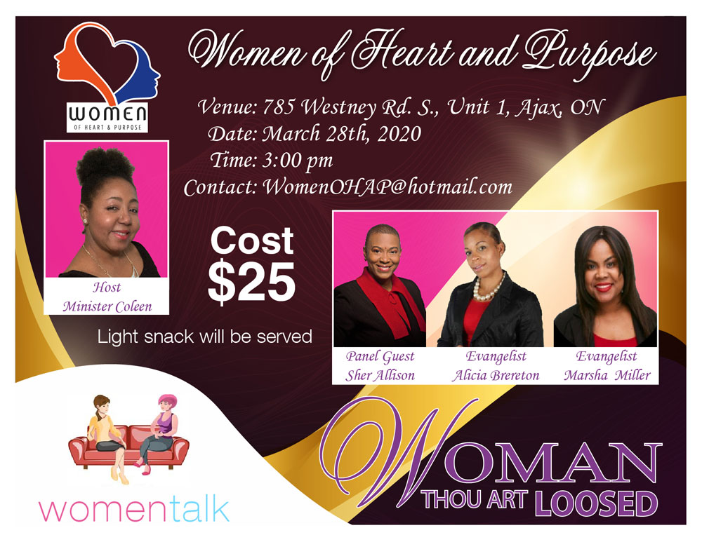 CANCELLED - Saturday March 28th, 2020: Women of Heart and Purpose